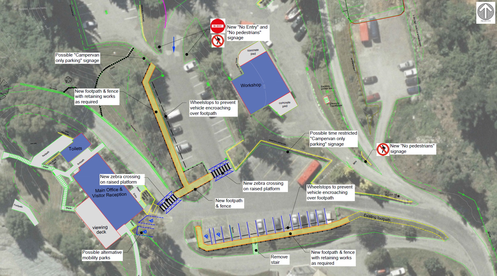 Map of proposed pedestrian improvements