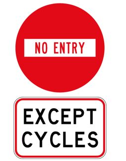 Contra-flow cycling sign