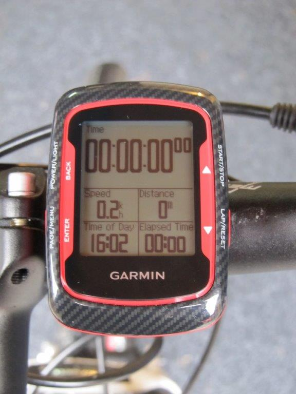 Garmin Edge mounted on bike handlebars