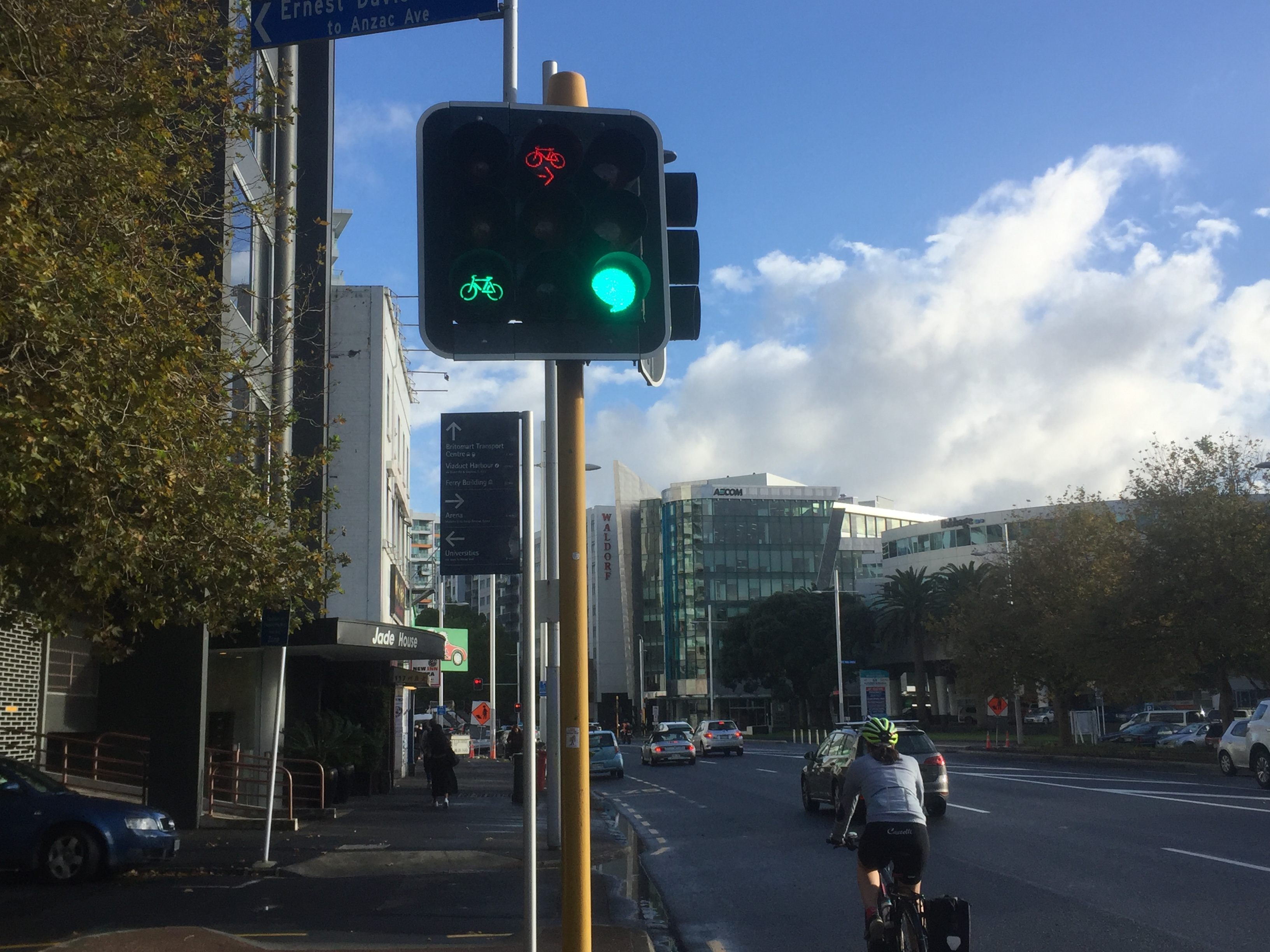 Traffic signals to separate through and diagonal cycling movements