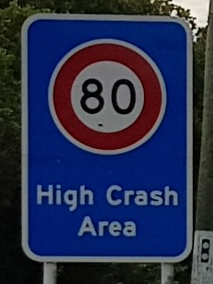 80kmh High Crash Area sign