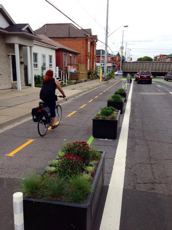 Planter boxes separating a cycle lane
